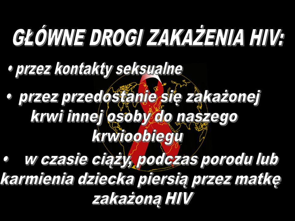GŁÓWNE DROGI ZAKAŻENIA HIV: