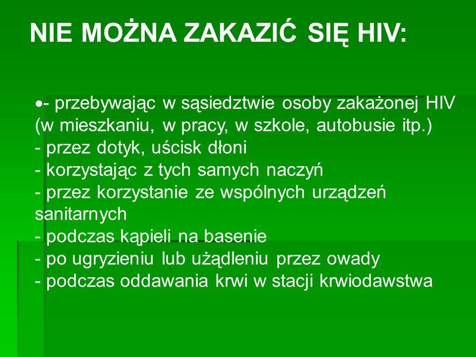 NIE MOŻNA ZAKAZIĆ SIĘ HIV: