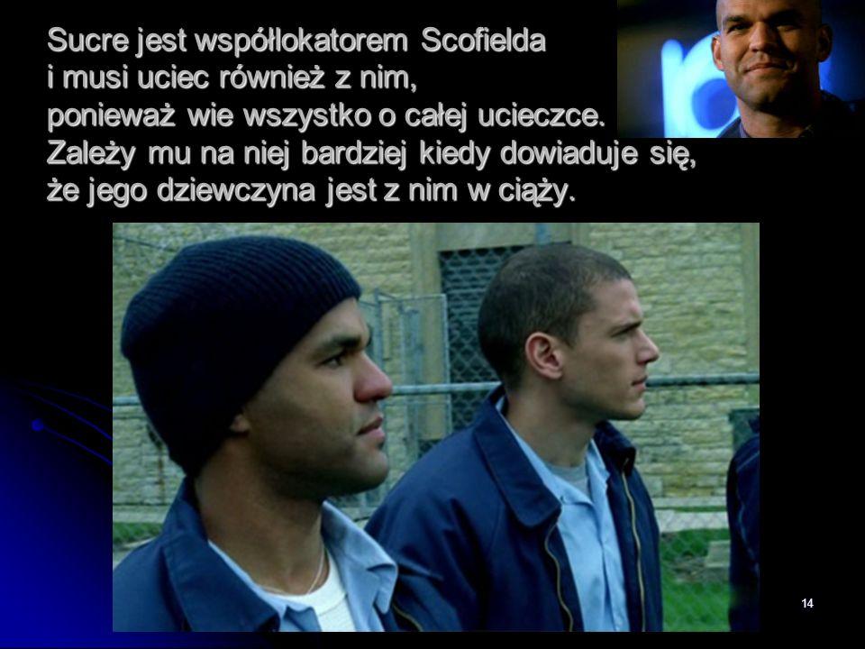 Sucre jest współlokatorem Scofielda i musi uciec również z nim, ponieważ wie wszystko o całej ucieczce.