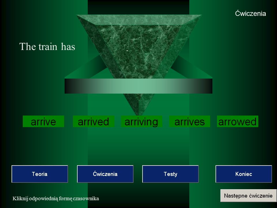 Ćwiczenia The train has . Kliknij odpowiednią formę czasownika