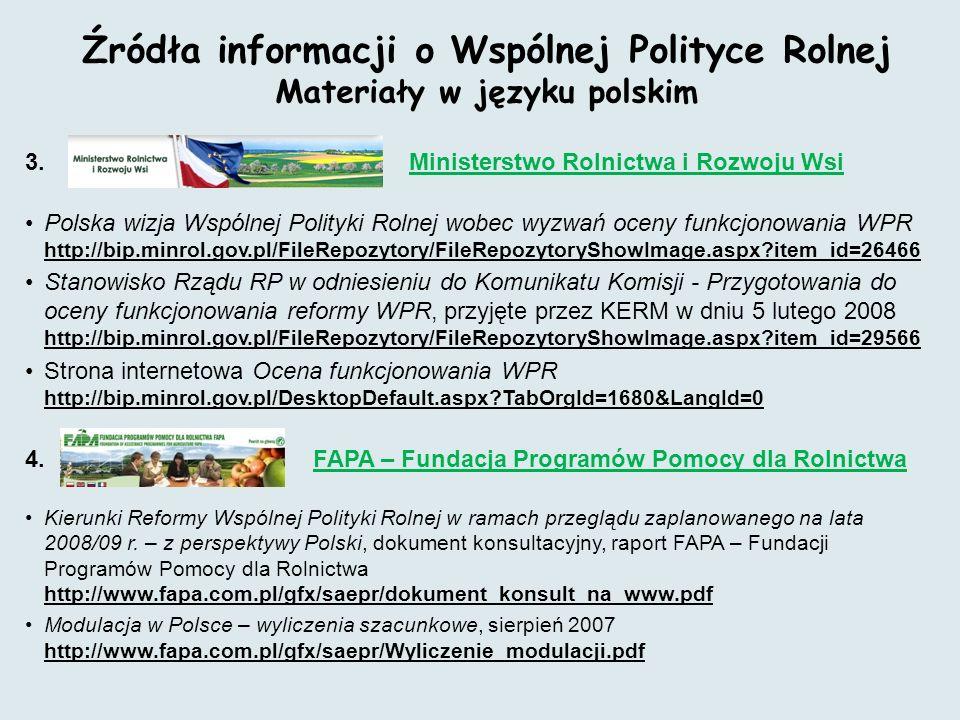 Źródła informacji o Wspólnej Polityce Rolnej