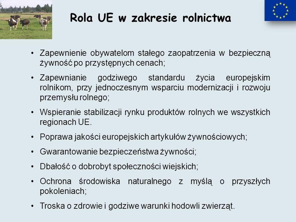 Rola UE w zakresie rolnictwa