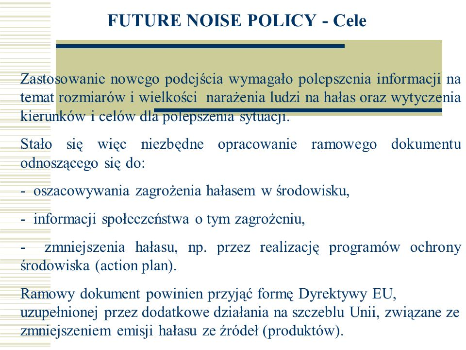 FUTURE NOISE POLICY - Cele