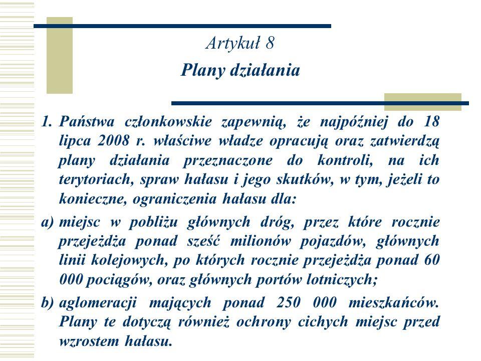 Artykuł 8 Plany działania
