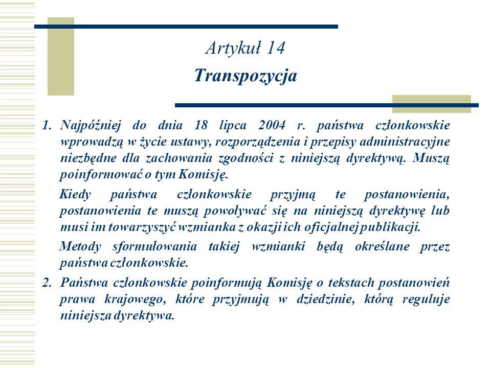 Artykuł 14 Transpozycja.