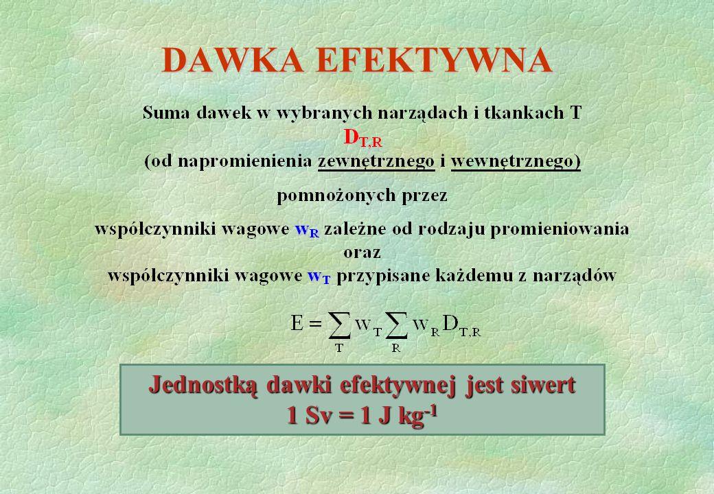 Jednostką dawki efektywnej jest siwert 1 Sv = 1 J kg-1