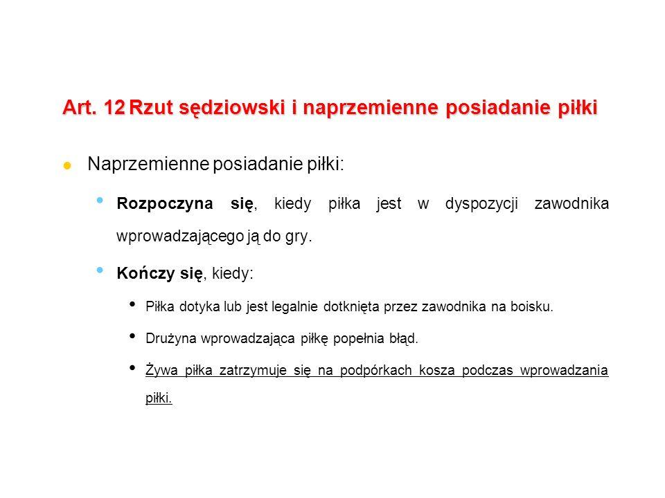 Art. 12 Rzut sędziowski i naprzemienne posiadanie piłki