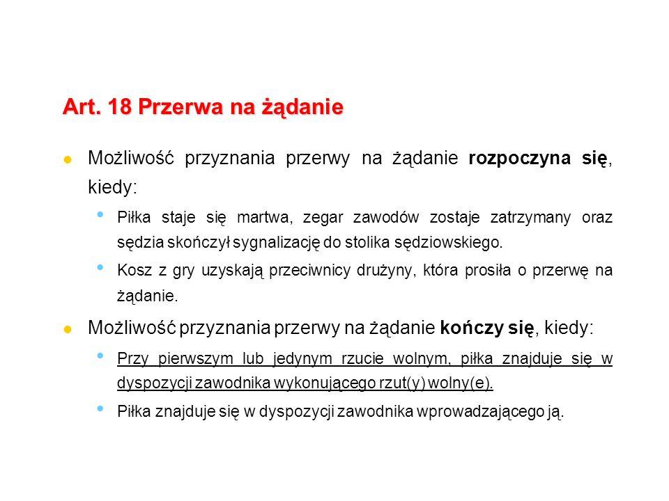 Art. 18 Przerwa na żądanie Możliwość przyznania przerwy na żądanie rozpoczyna się, kiedy: