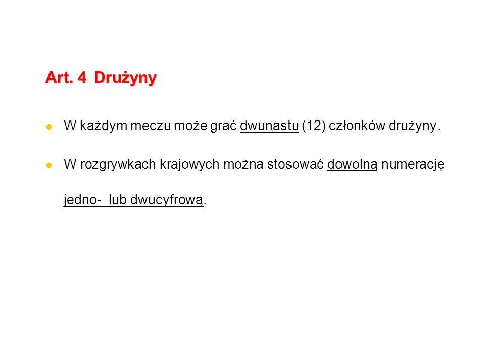 Art. 4 Drużyny W każdym meczu może grać dwunastu (12) członków drużyny.