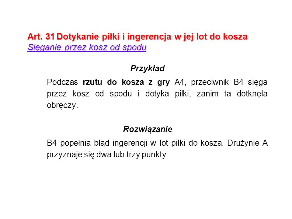 Art. 31 Dotykanie piłki i ingerencja w jej lot do kosza Sięganie przez kosz od spodu