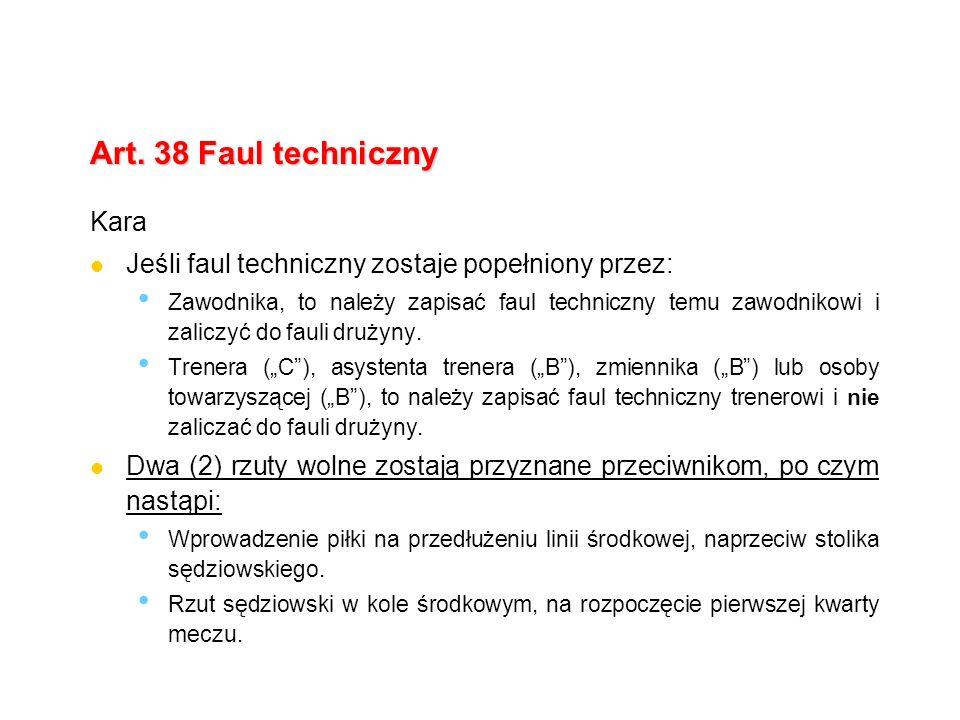 Art. 38 Faul techniczny Kara