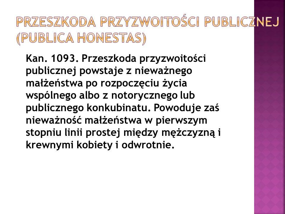 Przeszkoda przyzwoitości publicznej (publica honestas)