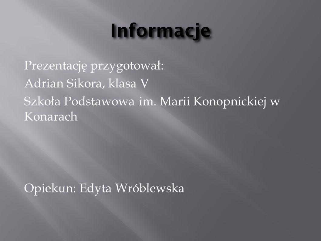 Informacje Prezentację przygotował: Adrian Sikora, klasa V Szkoła Podstawowa im.