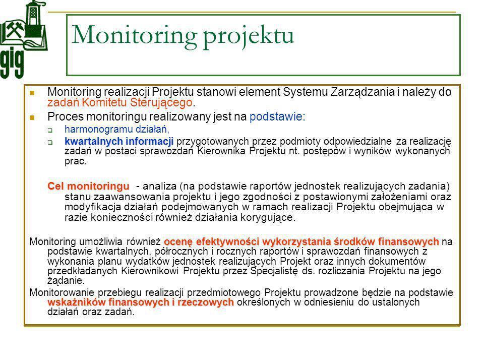 Monitoring projektu Monitoring realizacji Projektu stanowi element Systemu Zarządzania i należy do zadań Komitetu Sterującego.