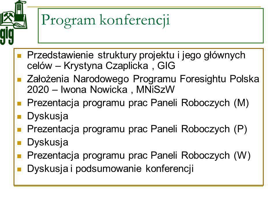 Program konferencji Przedstawienie struktury projektu i jego głównych celów – Krystyna Czaplicka , GIG.