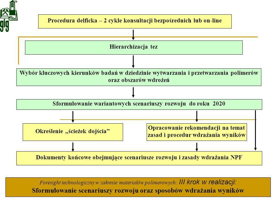 Sformułowanie wariantowych scenariuszy rozwoju do roku 2020