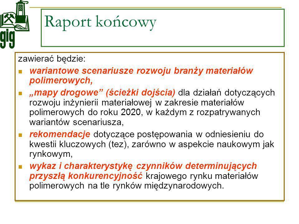 Raport końcowy zawierać będzie: