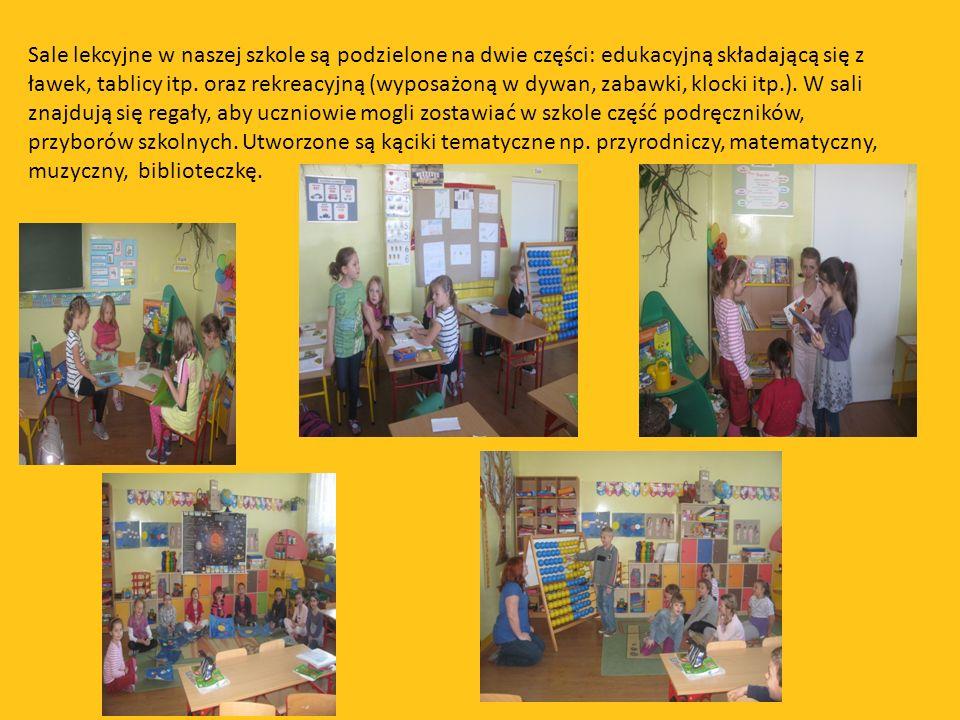 Sale lekcyjne w naszej szkole są podzielone na dwie części: edukacyjną składającą się z ławek, tablicy itp.