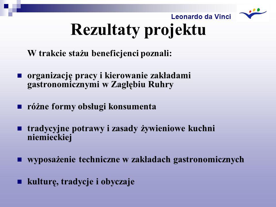 Rezultaty projektu W trakcie stażu beneficjenci poznali: