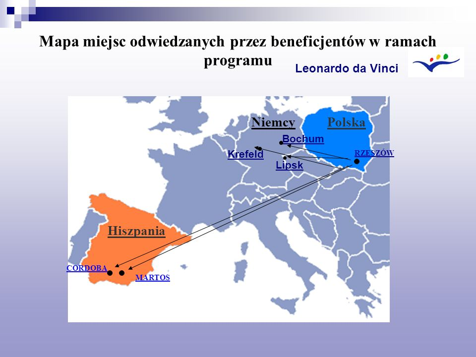 Mapa miejsc odwiedzanych przez beneficjentów w ramach programu