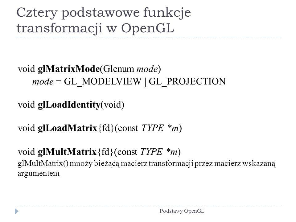 Cztery podstawowe funkcje transformacji w OpenGL