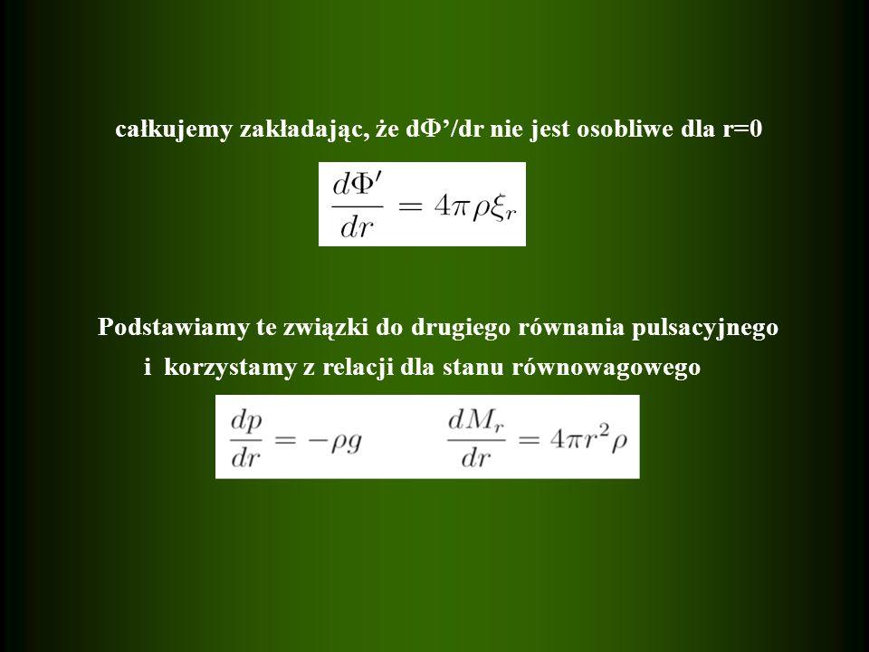 całkujemy zakładając, że d'/dr nie jest osobliwe dla r=0
