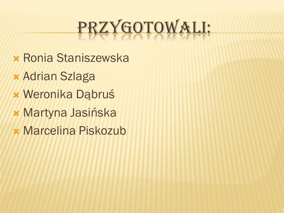 Przygotowali: Ronia Staniszewska Adrian Szlaga Weronika Dąbruś