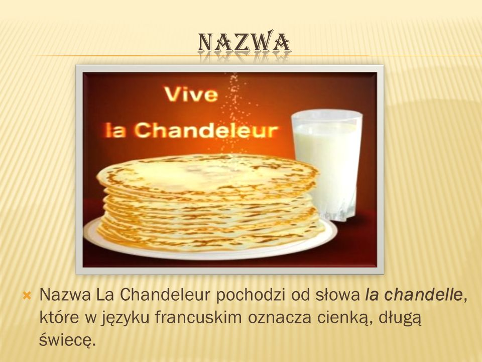 Nazwa Nazwa La Chandeleur pochodzi od słowa la chandelle, które w języku francuskim oznacza cienką, długą świecę.