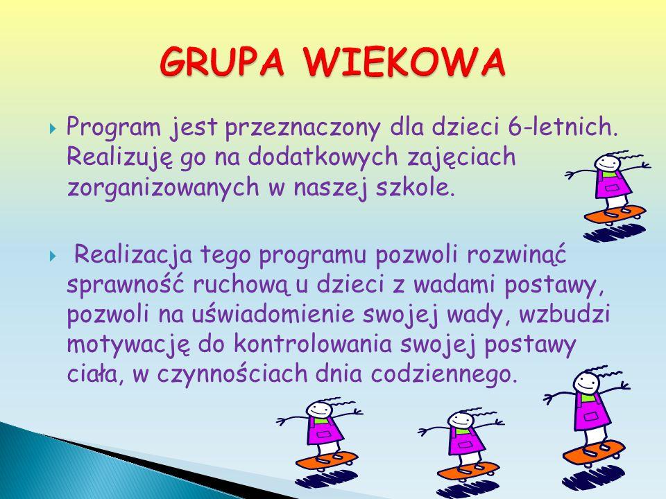 GRUPA WIEKOWA Program jest przeznaczony dla dzieci 6-letnich. Realizuję go na dodatkowych zajęciach zorganizowanych w naszej szkole.