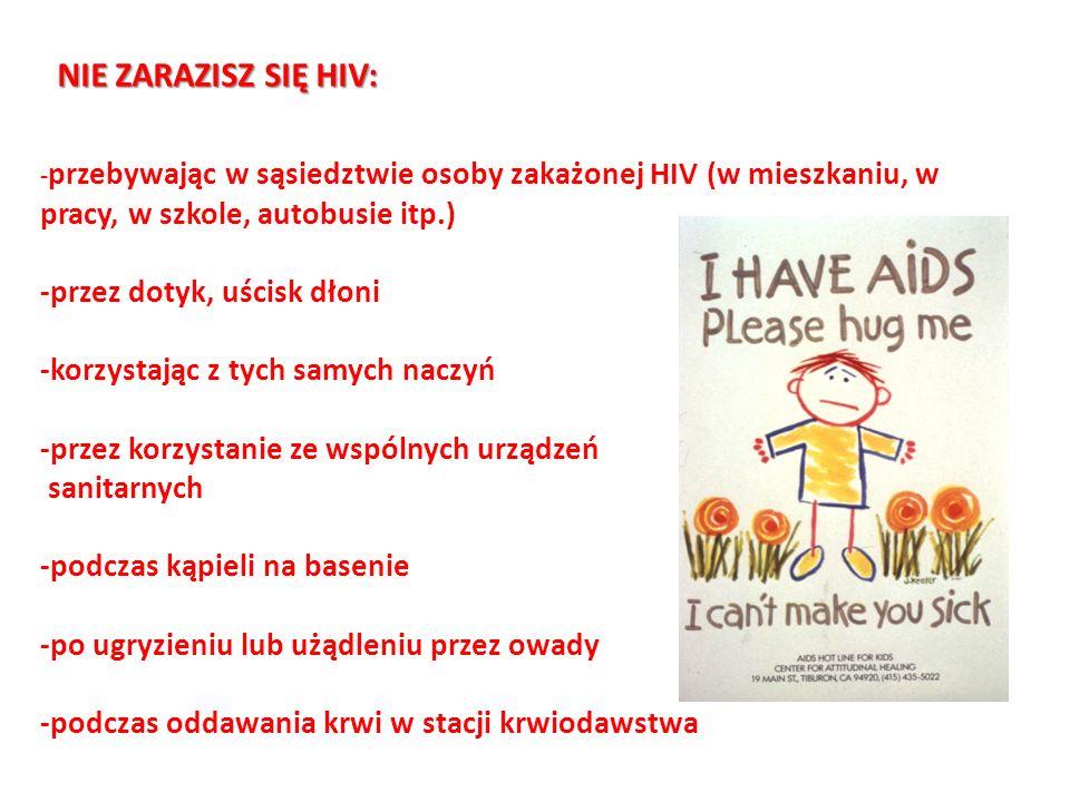 NIE ZARAZISZ SIĘ HIV: -przez dotyk, uścisk dłoni
