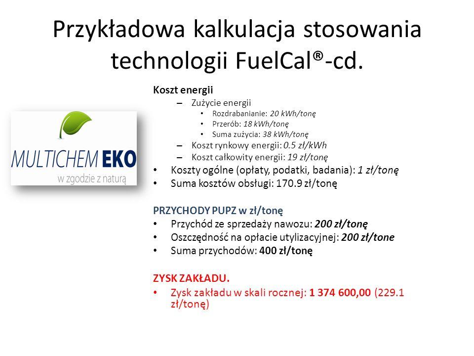 Przykładowa kalkulacja stosowania technologii FuelCal®-cd.