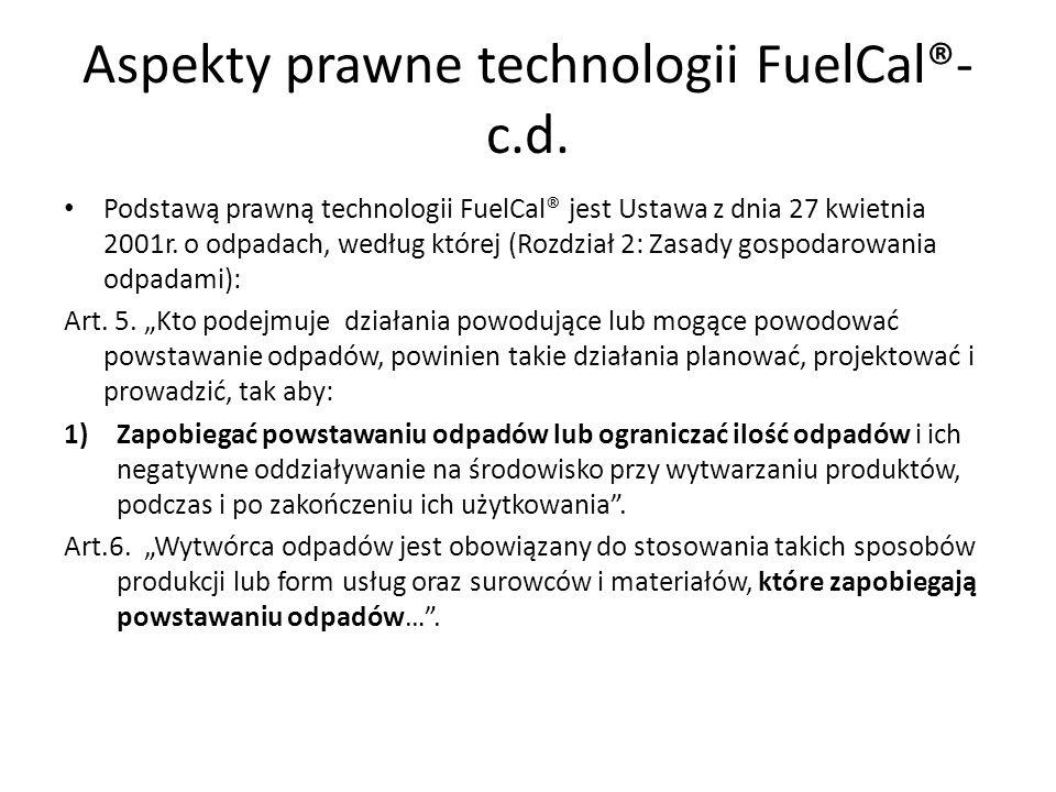 Aspekty prawne technologii FuelCal®-c.d.