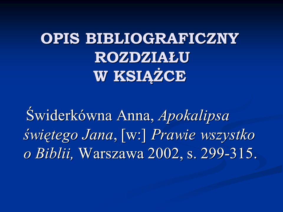 OPIS BIBLIOGRAFICZNY ROZDZIAŁU W KSIĄŻCE