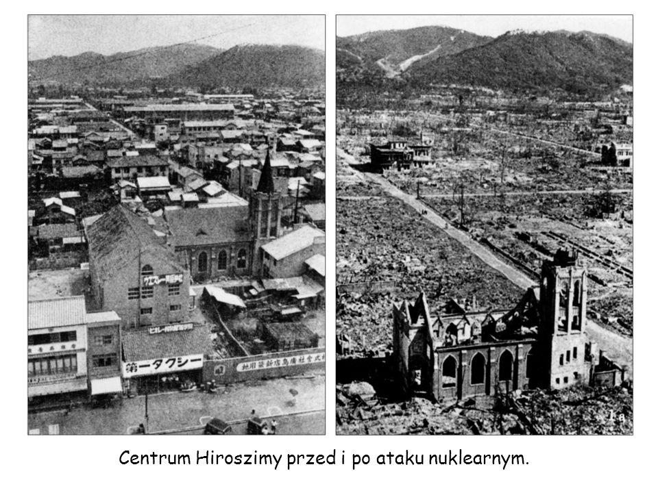 Centrum Hiroszimy przed i po ataku nuklearnym.