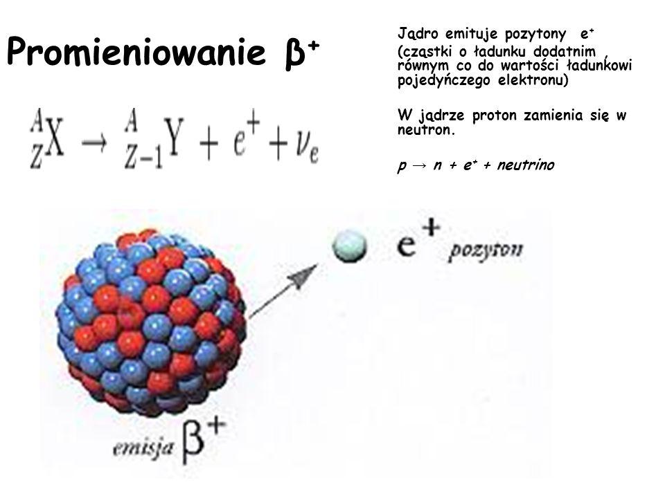 Jądro emituje pozytony e+ (cząstki o ładunku dodatnim , równym co do wartości ładunkowi pojedyńczego elektronu) W jądrze proton zamienia się w neutron. p → n + e+ + neutrino