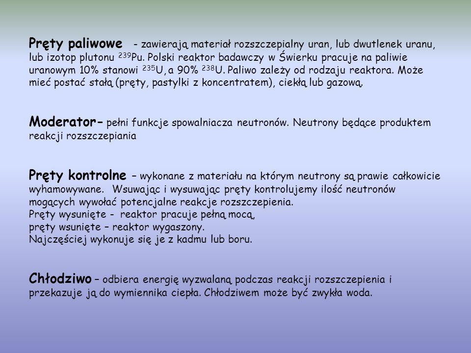 Pręty paliwowe - zawierają materiał rozszczepialny uran, lub dwutlenek uranu, lub izotop plutonu 239Pu.