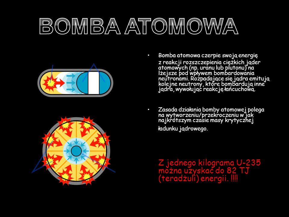 BOMBA ATOMOWA Bomba atomowa czerpie swoją energię.