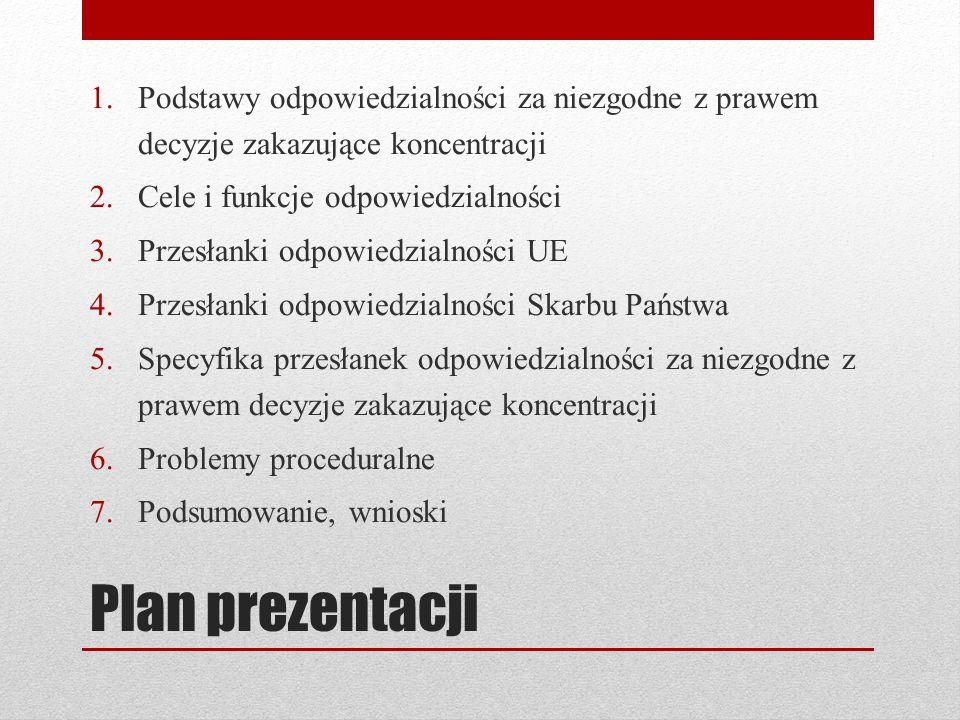 Podstawy odpowiedzialności za niezgodne z prawem decyzje zakazujące koncentracji