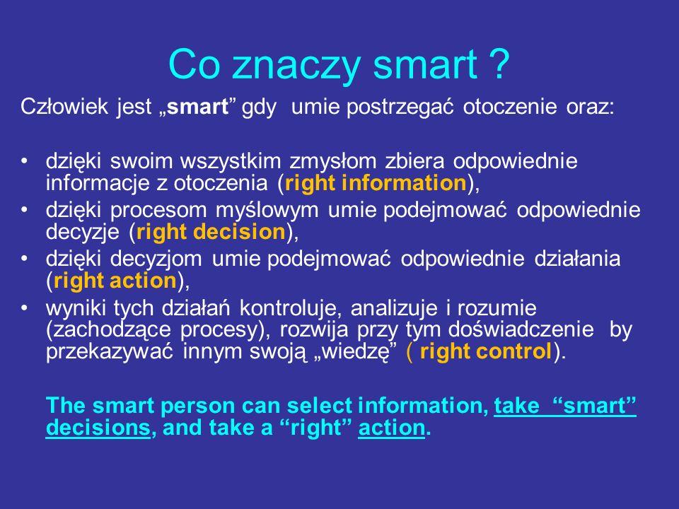 """Co znaczy smart Człowiek jest """"smart gdy umie postrzegać otoczenie oraz:"""