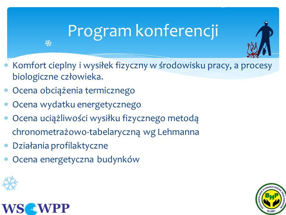 Program konferencji Komfort cieplny i wysiłek fizyczny w środowisku pracy, a procesy biologiczne człowieka.