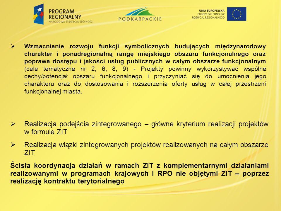 Wzmacnianie rozwoju funkcji symbolicznych budujących międzynarodowy charakter i ponadregionalną rangę miejskiego obszaru funkcjonalnego oraz poprawa dostępu i jakości usług publicznych w całym obszarze funkcjonalnym (cele tematyczne nr 2, 6, 8, 9) - Projekty powinny wykorzystywać wspólne cechy/potencjał obszaru funkcjonalnego i przyczyniać się do umocnienia jego charakteru oraz do dostosowania i rozszerzenia oferty usług w całej przestrzeni funkcjonalnej miasta.