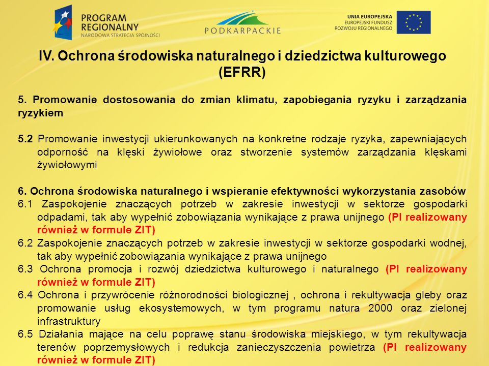 IV. Ochrona środowiska naturalnego i dziedzictwa kulturowego (EFRR)