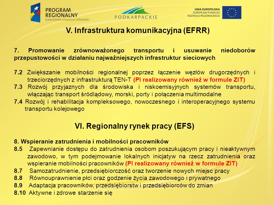 V. Infrastruktura komunikacyjna (EFRR)
