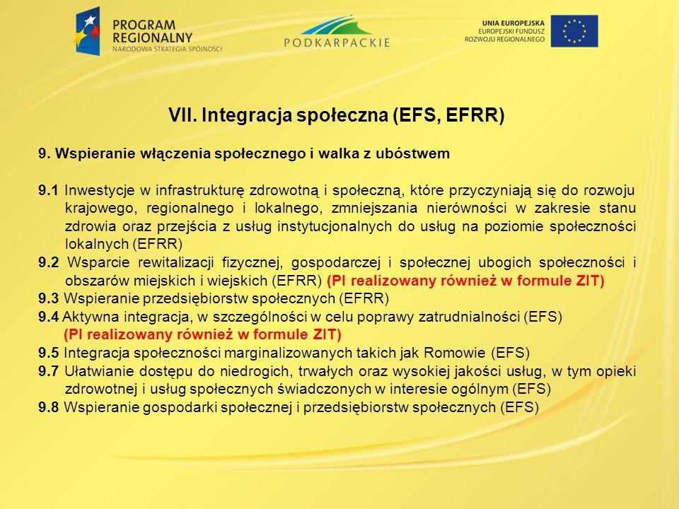 VII. Integracja społeczna (EFS, EFRR)