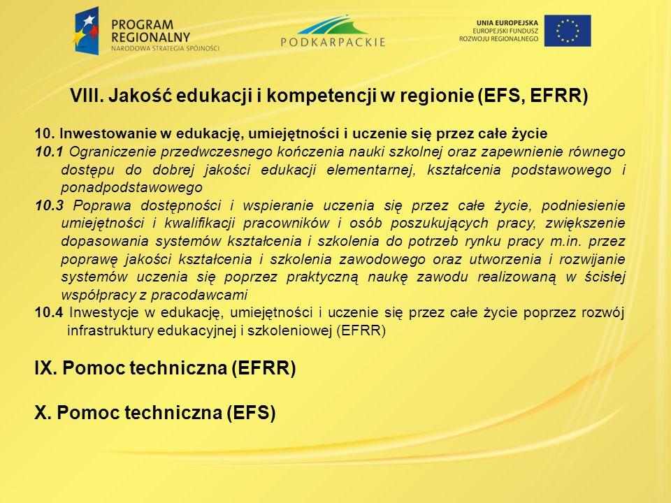 VIII. Jakość edukacji i kompetencji w regionie (EFS, EFRR)