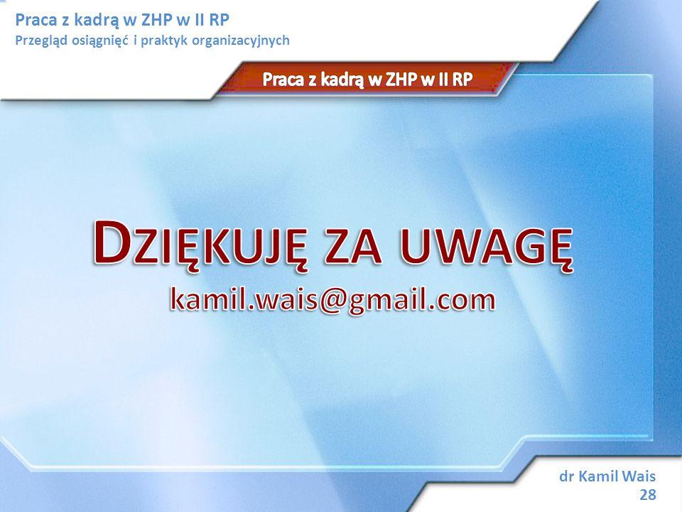 Praca z kadrą w ZHP w II RP