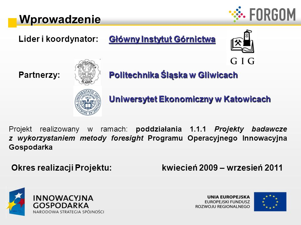 Wprowadzenie Lider i koordynator: Główny Instytut Górnictwa