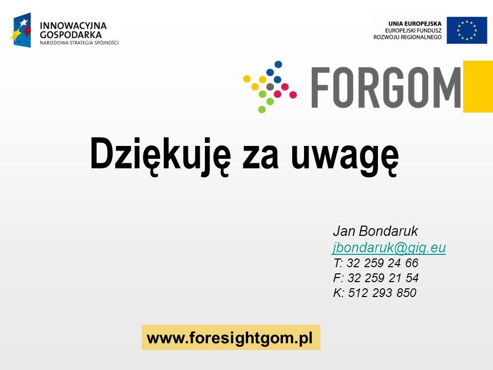 Dziękuję za uwagę www.foresightgom.pl Jan Bondaruk jbondaruk@gig.eu