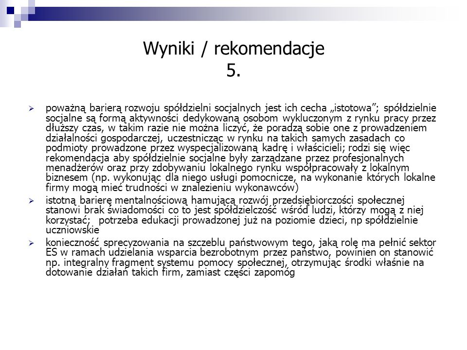 Wyniki / rekomendacje 5.