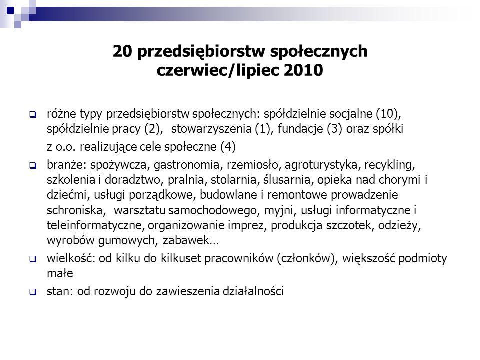 20 przedsiębiorstw społecznych czerwiec/lipiec 2010